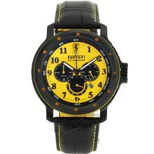 Replik Ferrari Chronograph Arbeitsgruppe PVD Gehäuse mit Yellow Dial-Leather Strap - Attraktive Ferrari Watch für Sie 36984