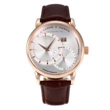 Repliki A.Lange & Sohne Automatic Rose Gold Case with Silver Dial-Brown Leather Strap – Attractive A.Lange & Sohne Watch for You 38238