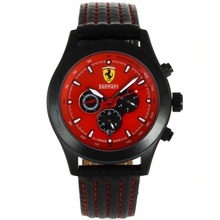 Replik Ferrari Automatic PVD Gehäuse mit Red Dial-Leather Strap - Attraktive Ferrari Watch für Sie 37041