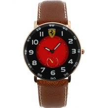 Replik Ferrari Rose Gold Case Number Marker mit Red Dial-Leather Strap - Attraktive Ferrari Watch für Sie 37022