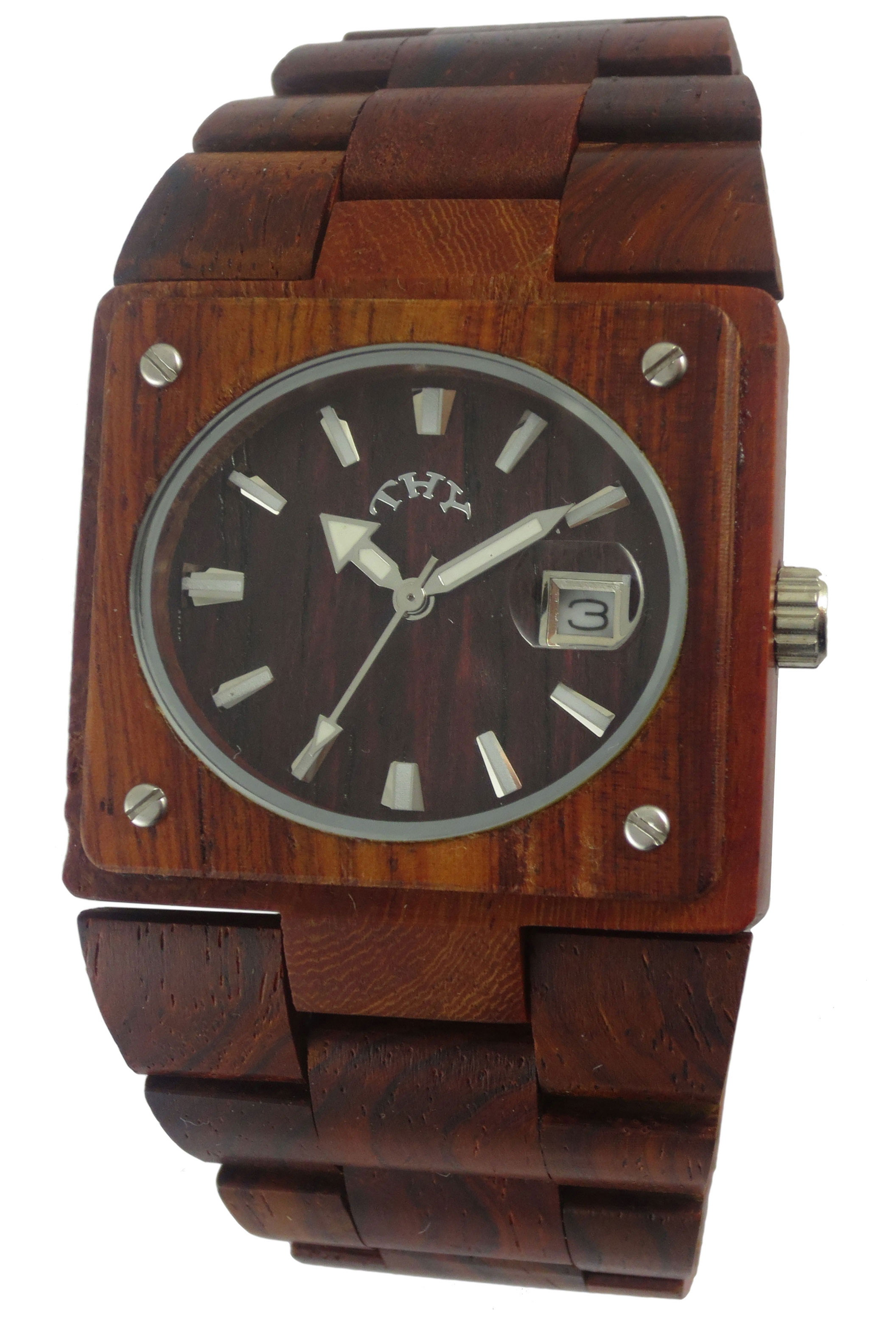 Mens Red Rectangle Black Dial Wooden Watches with 38 X 34 Mm Size W00002