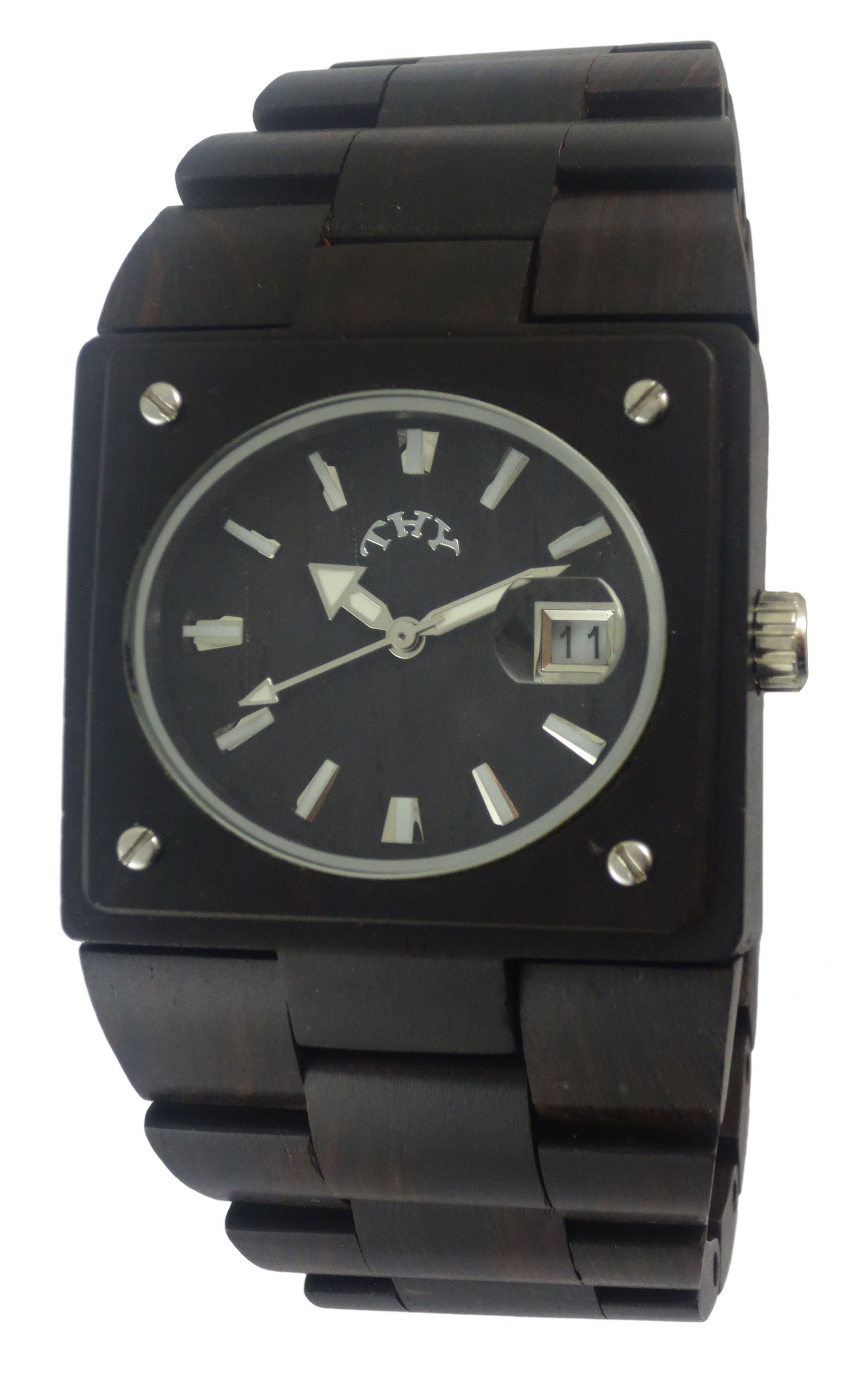 Mens Black Rectangle Black Wooden Watches with 38 X 34 Mm Size W00003