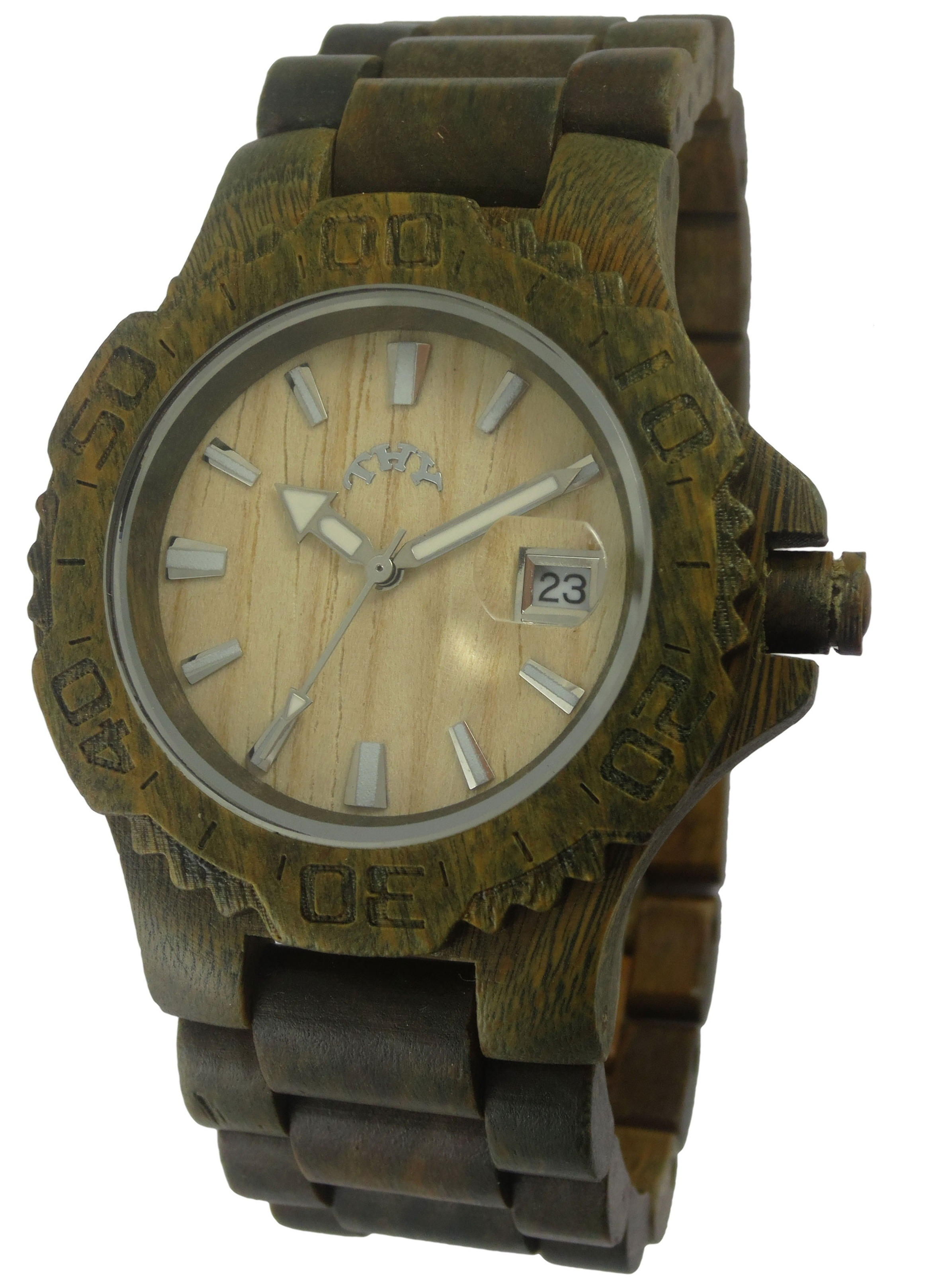 Mens Green Round White Dial Wooden Watch with 40 Mm Size W00008