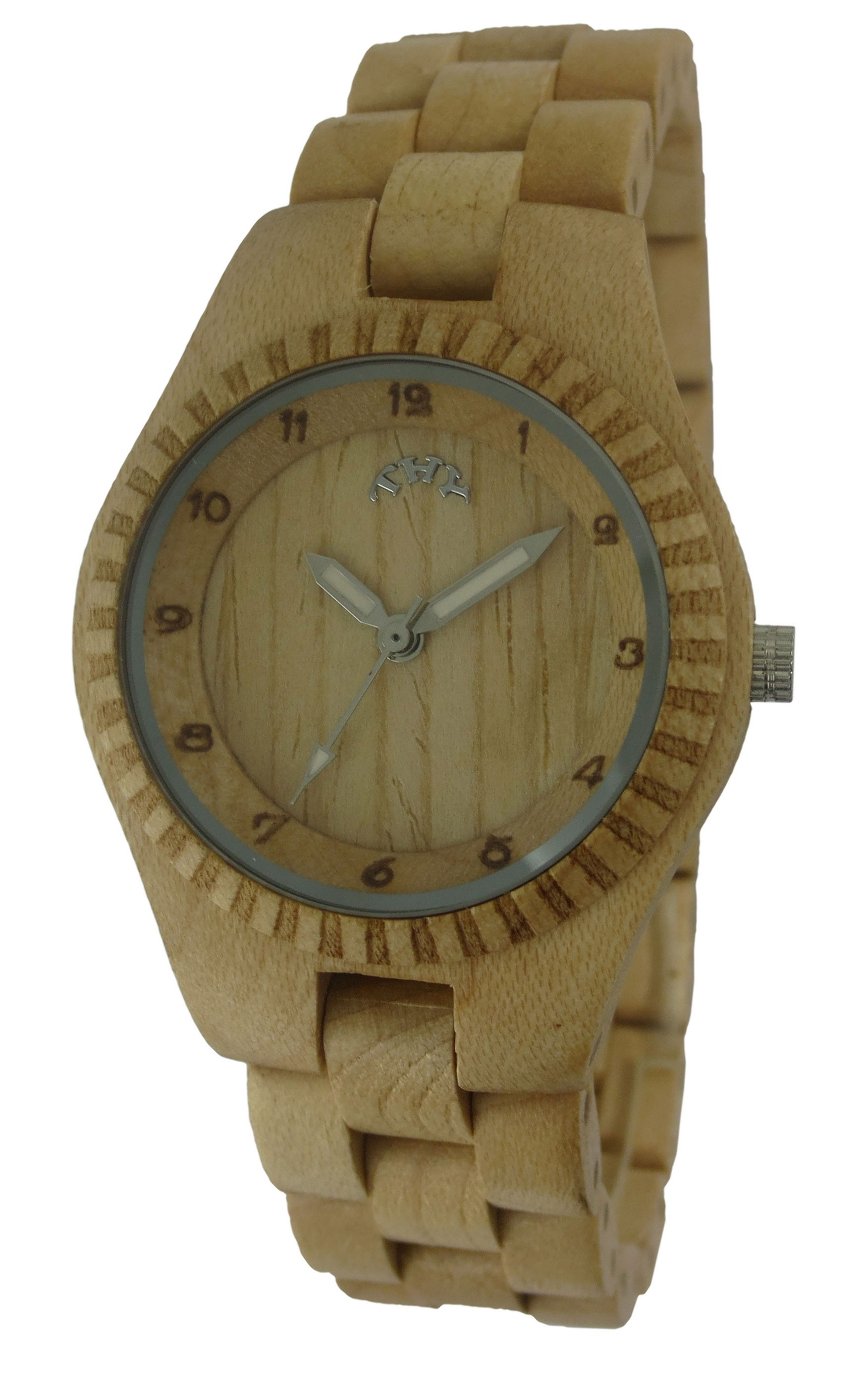 WoMens Yellow Round Yellow Dial Wooden Watches with 30 Mm Size W00010