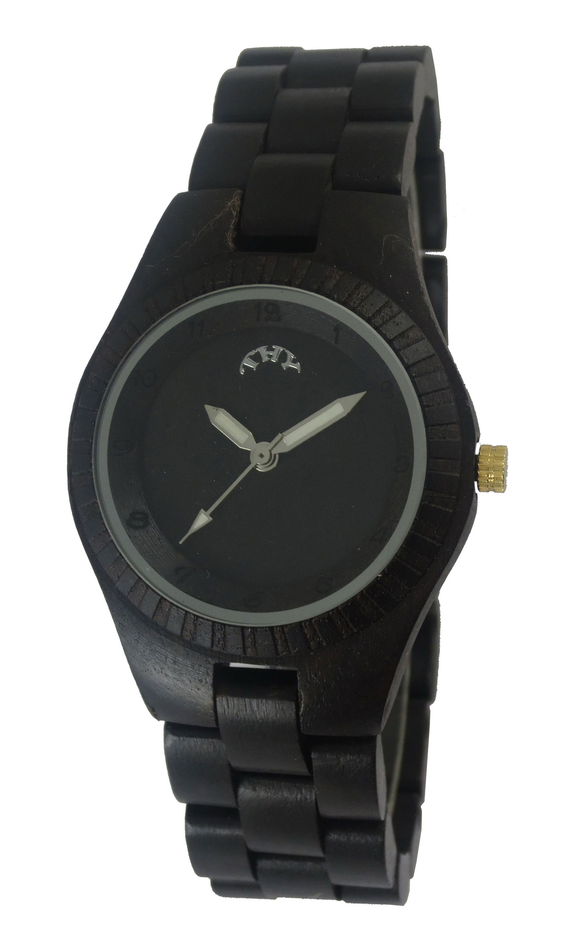 WoMens Black Round Black Dial Wooden Watches with 30 Mm Size W00014