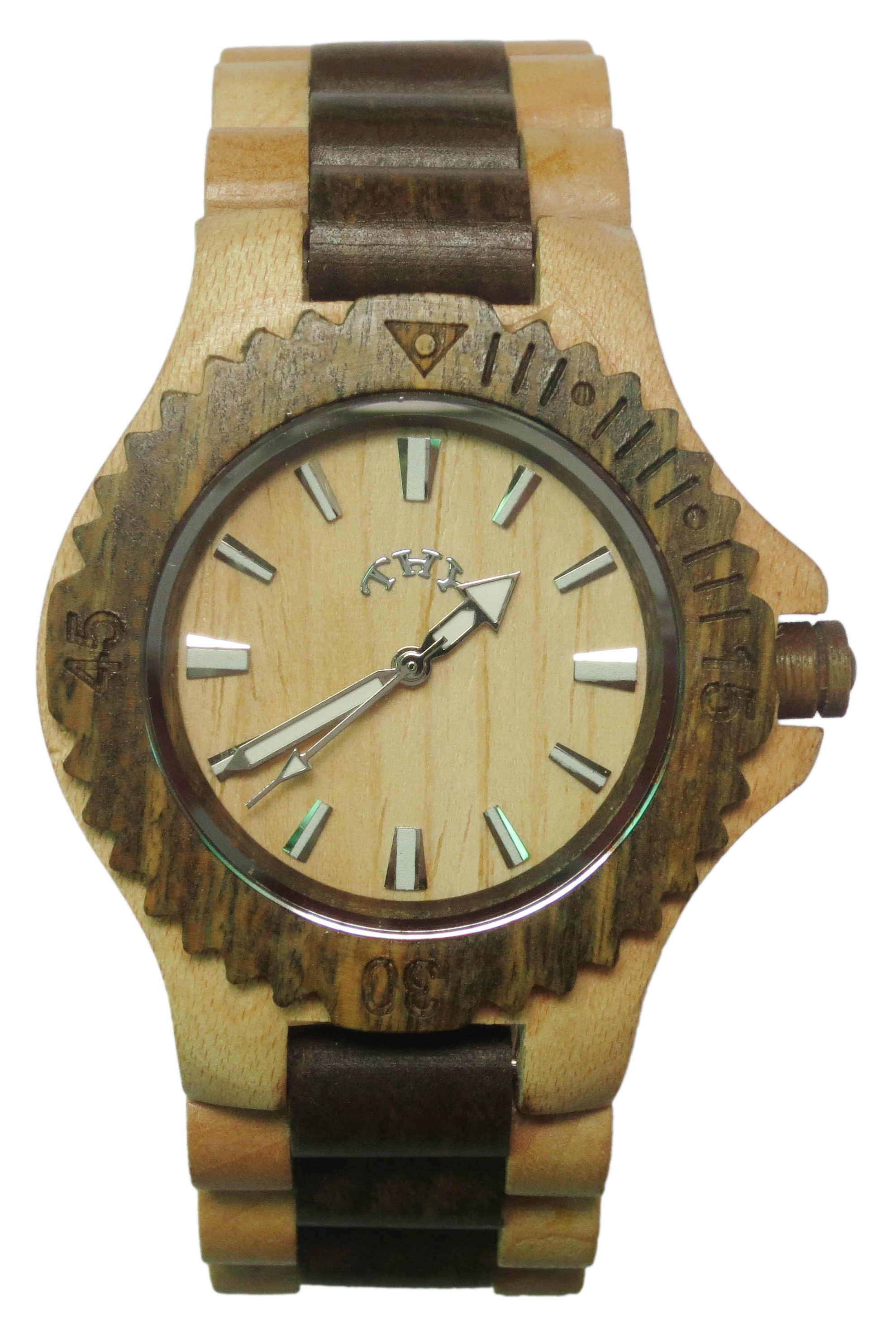 Mens Yellow and Brown 2-tone Round White Dial Wooden Watches with 40 Mm Size W00016