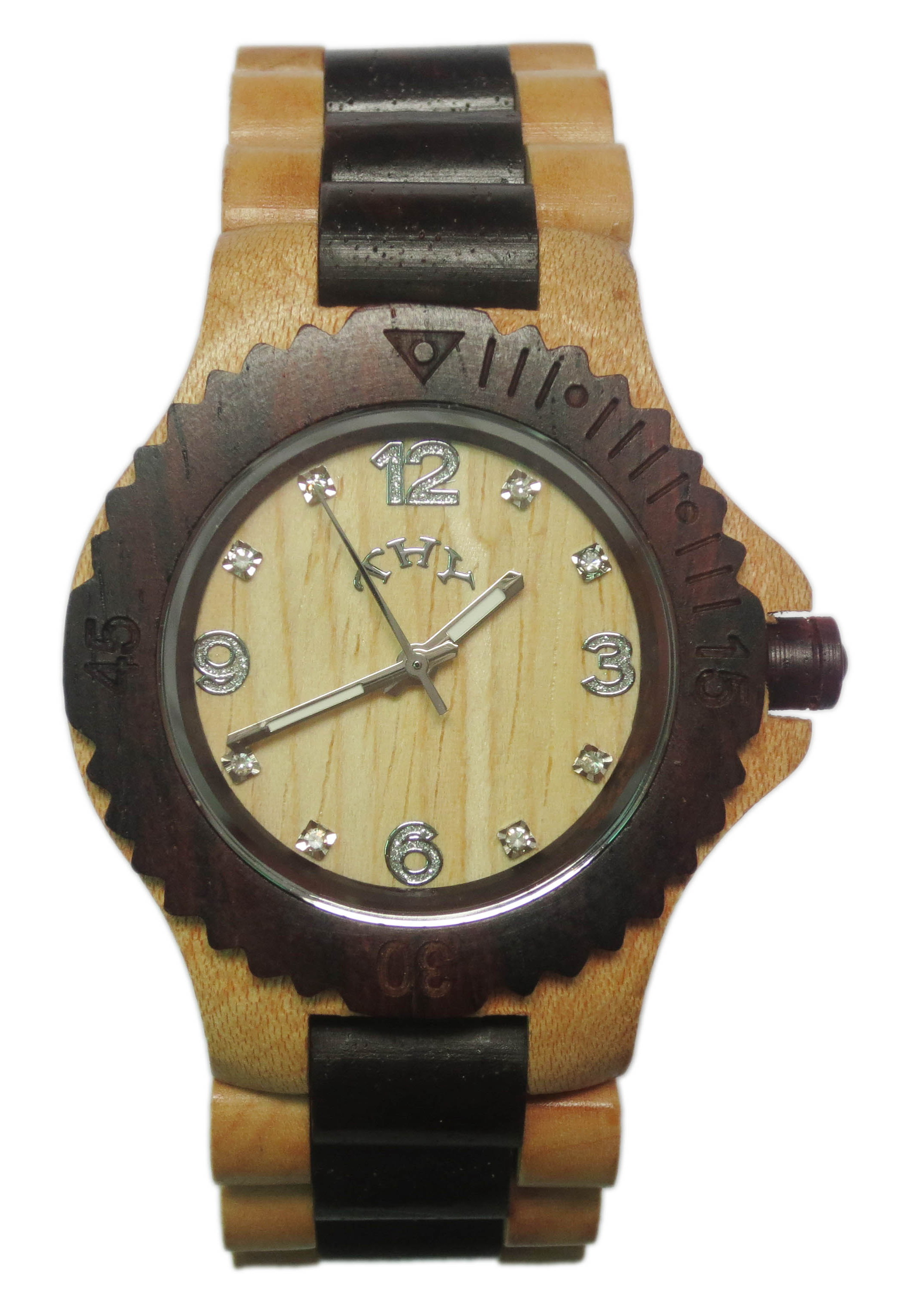Mens Yellow and Black 2-tone Round White Dial Wooden Watches with 40 Mm Size W00017