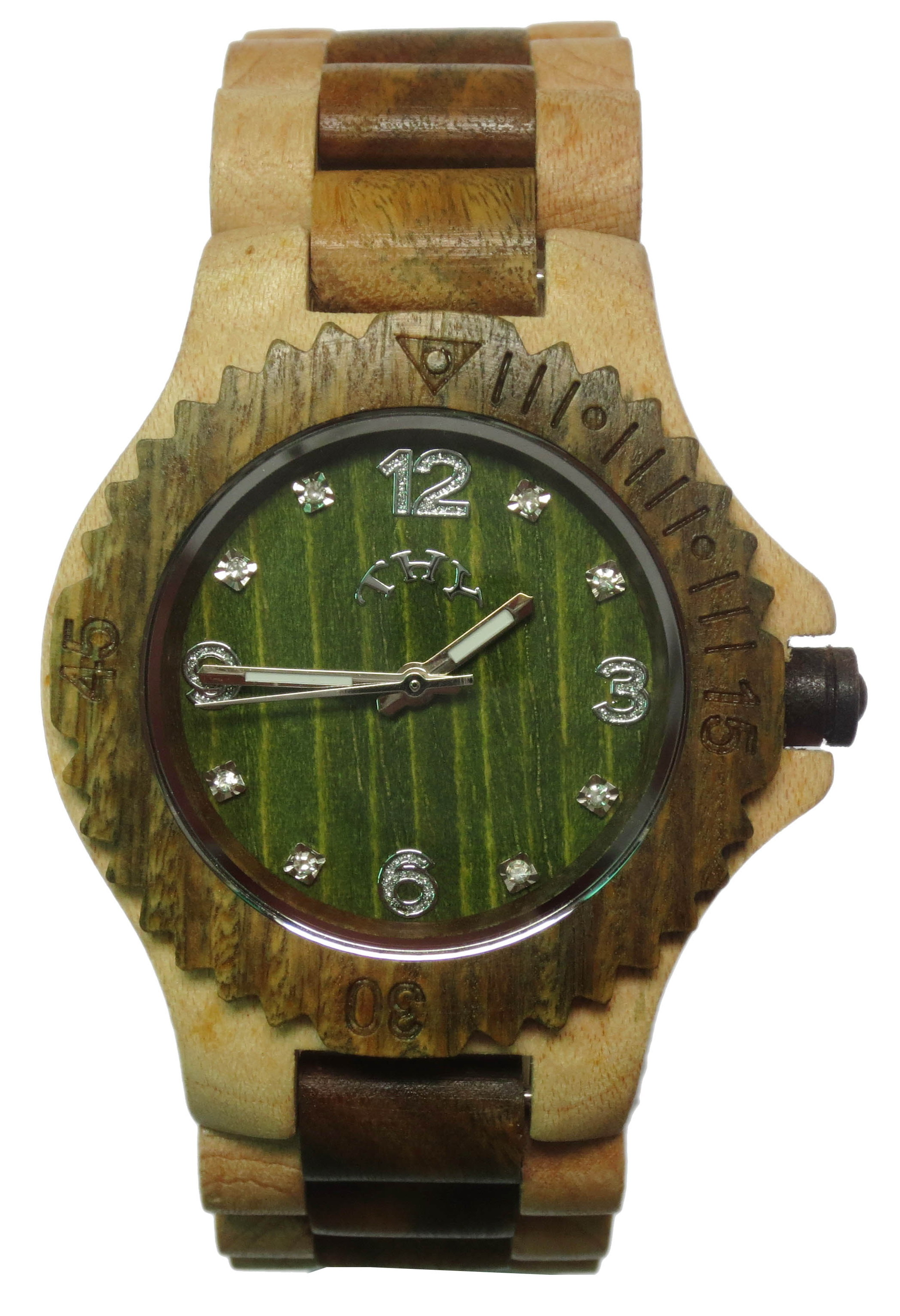 Mens Yellow and Brown 2-tone round green dial wooden watches with 40 MM size W00018