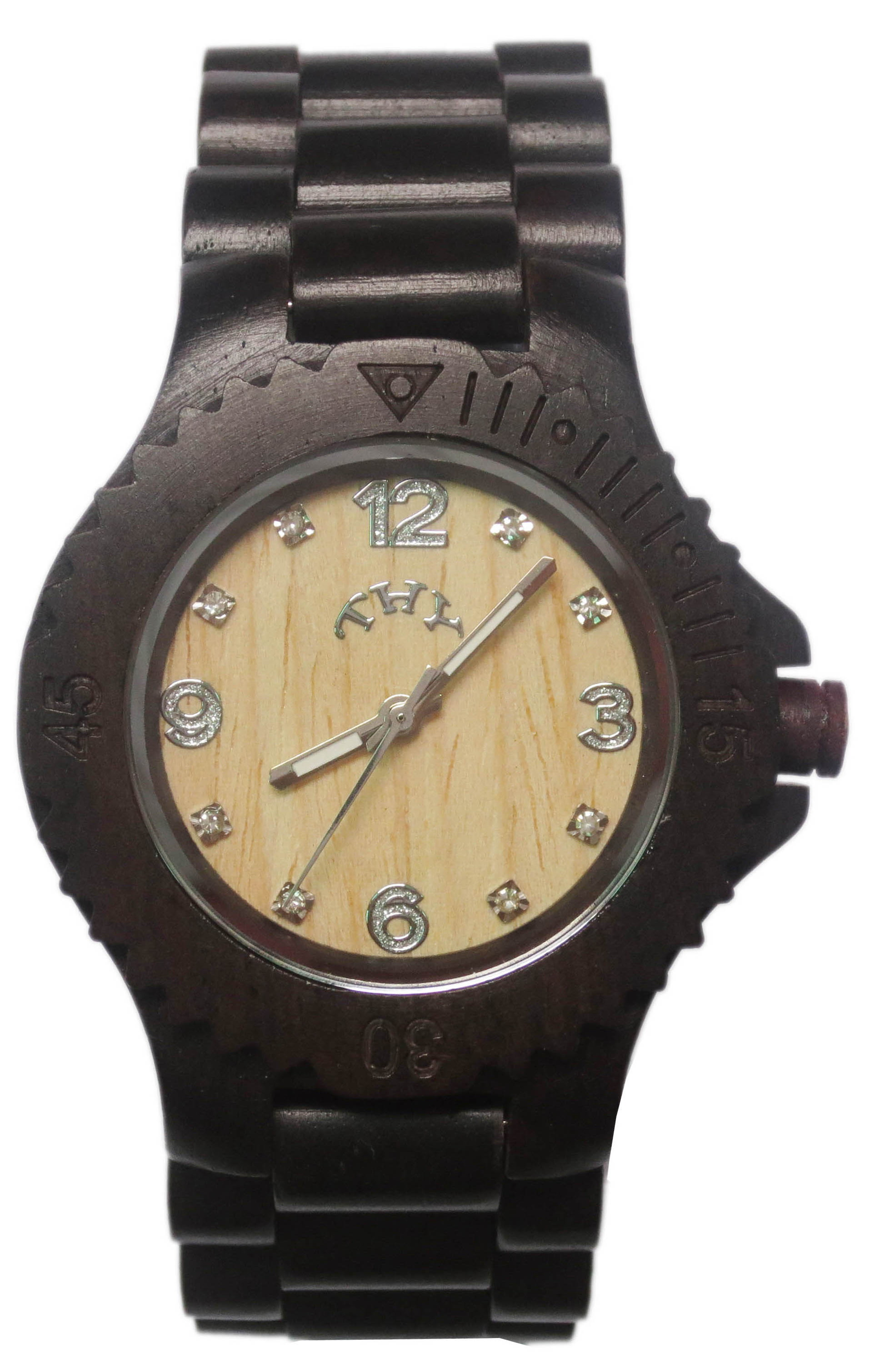 Mens Black Round White Dial Wooden Watches with 40 Mm Size W00019