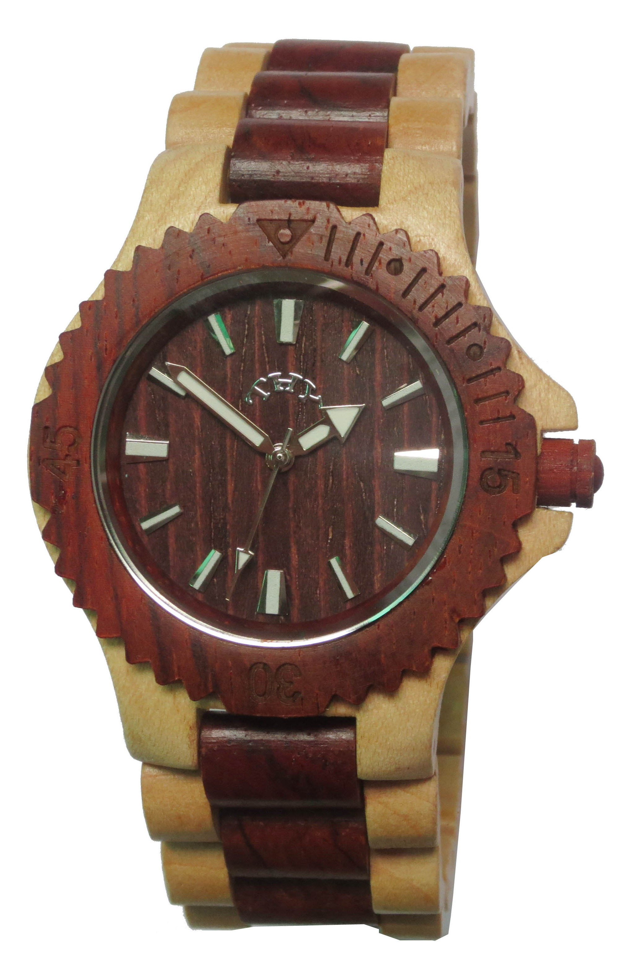 Mens Red and Yellow 2-tone Round Red Dial Wooden Watches with 40 Mm Size W00021