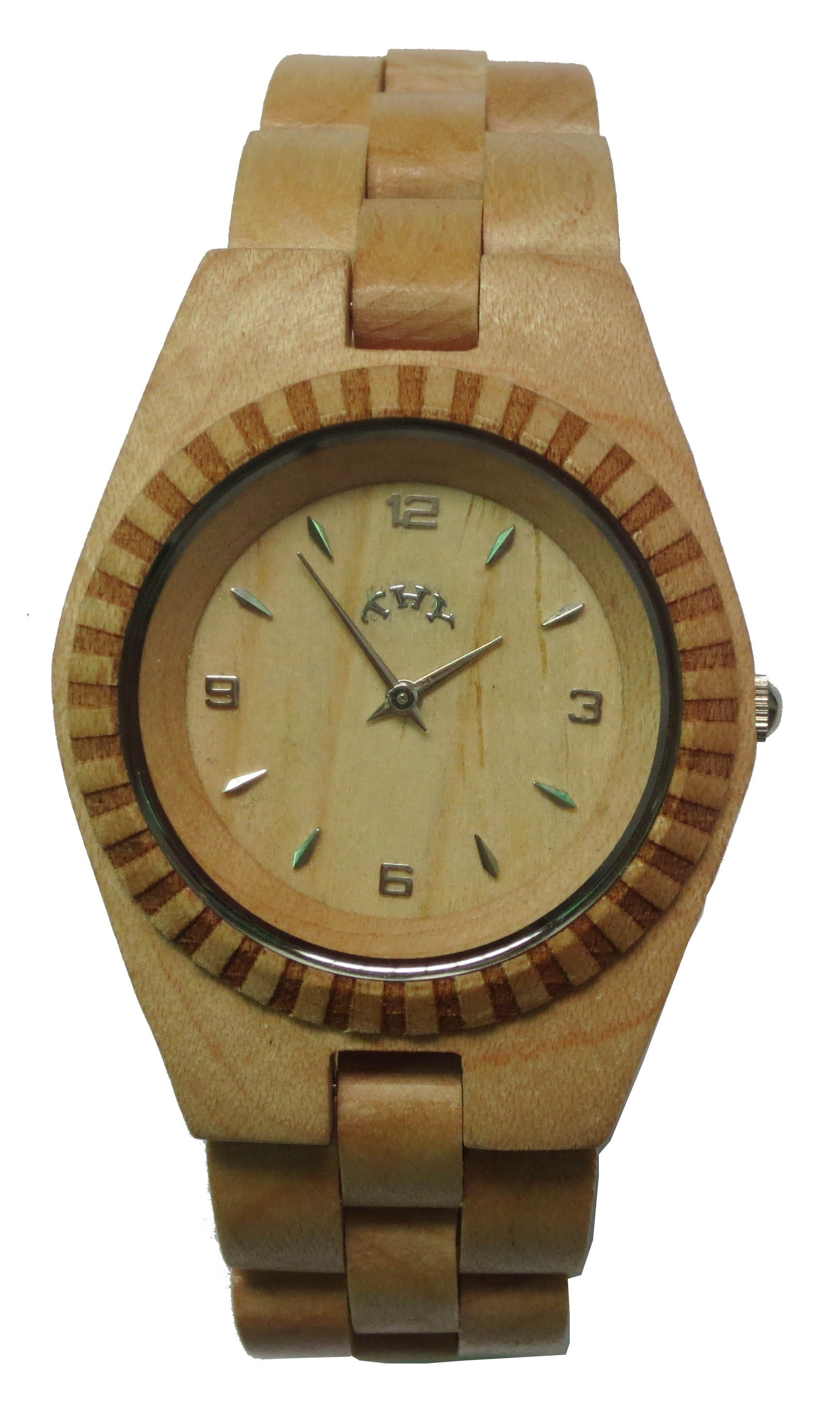 WoMens Yellow Round White Dial Wooden Watches with 33 Mm Size W00022