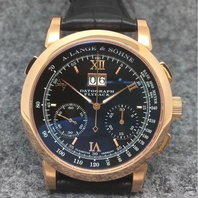 Replica A. Lange & Sohne Datograph Flyback BM Rose Gold Black Dial Swiss Lemania 84727