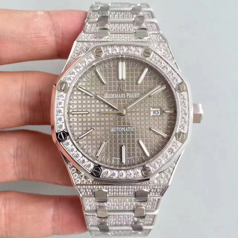 Replica Audemars Piguet Royal Eiche 15400 N Edelstahl Diamond Grey Zifferblatt Swiss 3120 84414