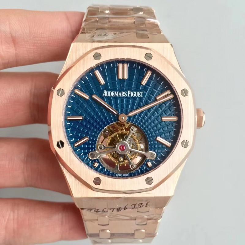 a8af682899c Replica Audemars Piguet Royal Oak Tourbillon Extra Thin 26522 R8 Rose Gold  Blue Dial Swiss 2924