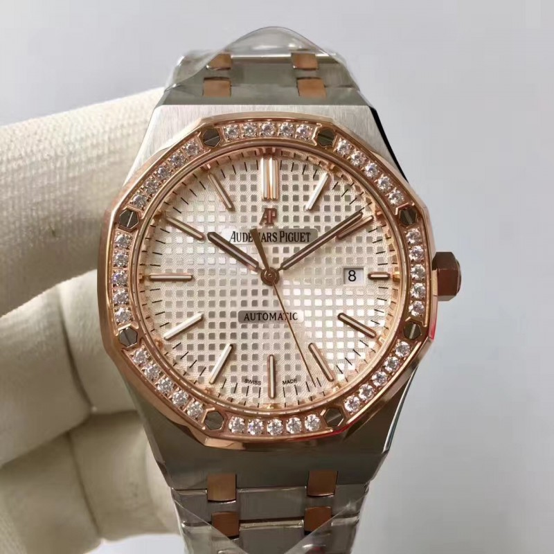 Replica Audemars Piguet Royal Eiche 15400 Jf Edelstahl Diamanten Silbernes Zifferblatt Swiss 3120 84409