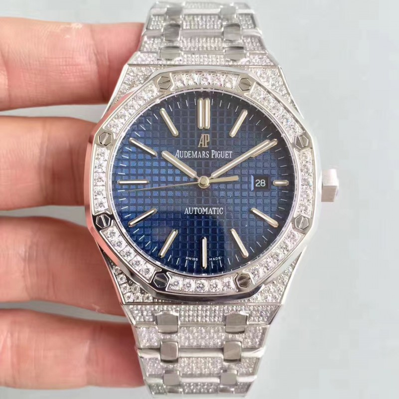 Replica Audemars Piguet Royal Eiche 15400 N Edelstahl Diamantblaues Zifferblatt Swiss 3120 84393