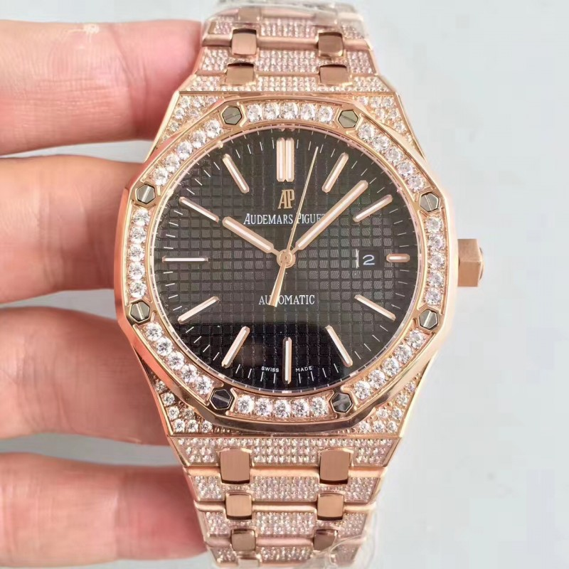 Replica Audemars Piguet Royal Eiche 15400 N Roségold Diamant-Rückzifferblatt Swiss 3120 84651