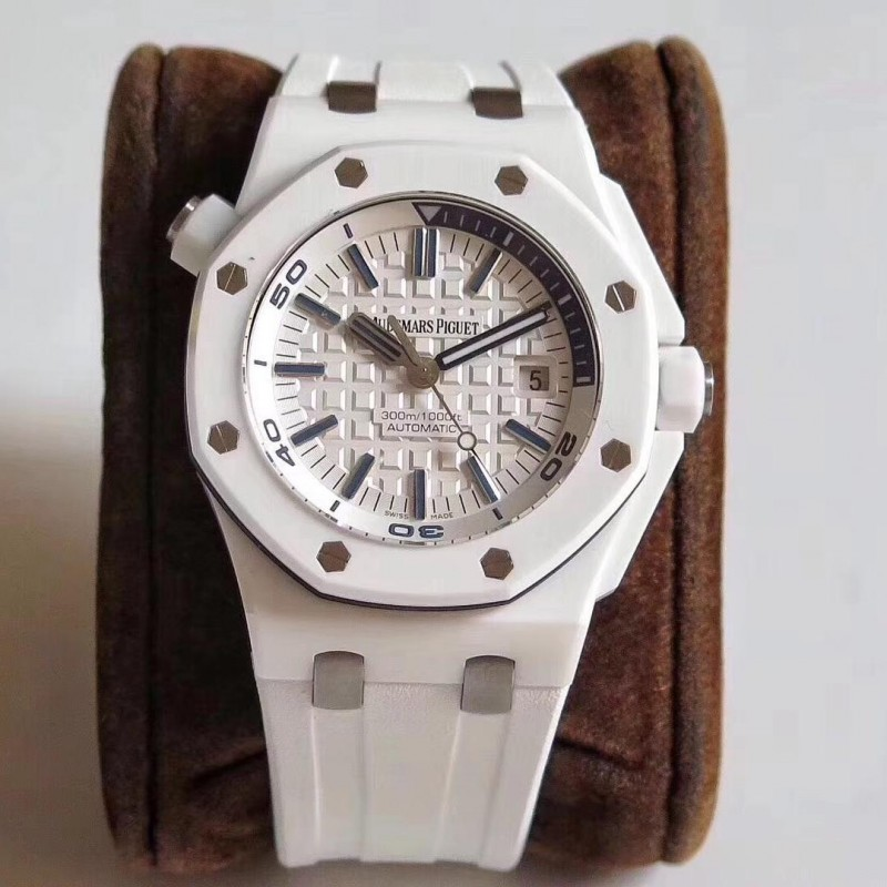 Replica Audemars Piguet Royal Oak Offshore Taucher 15707 Jf V2 Weiß Keramik Weisses Zifferblatt Swiss 3120 84391