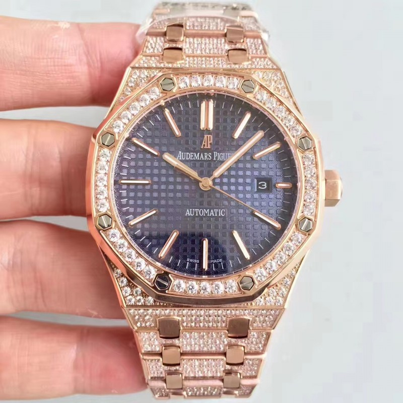 Replica Audemars Piguet Royal Eiche 15400 N Roségold Diamantblaues Zifferblatt Swiss 3120 84351