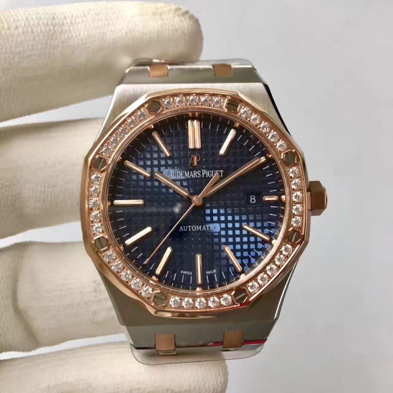 Replica Audemars Piguet Royal Eiche 15400 Jf Edelstahl Diamanten Blaues Zifferblatt Swiss 3120 84340