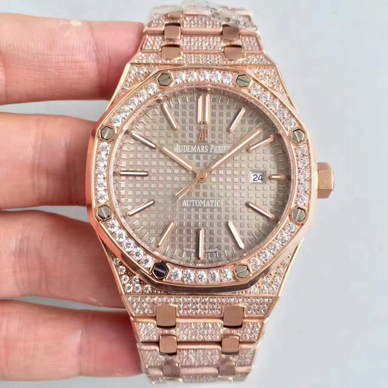 Replica Audemars Piguet Royal Eiche 15400 N Roségold Diamond Grey Zifferblatt Swiss 3120 84330
