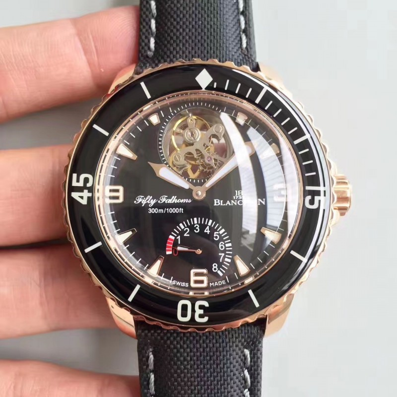 Replica Blancpain Fifty Fathoms Tourbillon 5025-3630-52A Zf Roségold Schwarz Zifferblatt Swiss 25A 84172