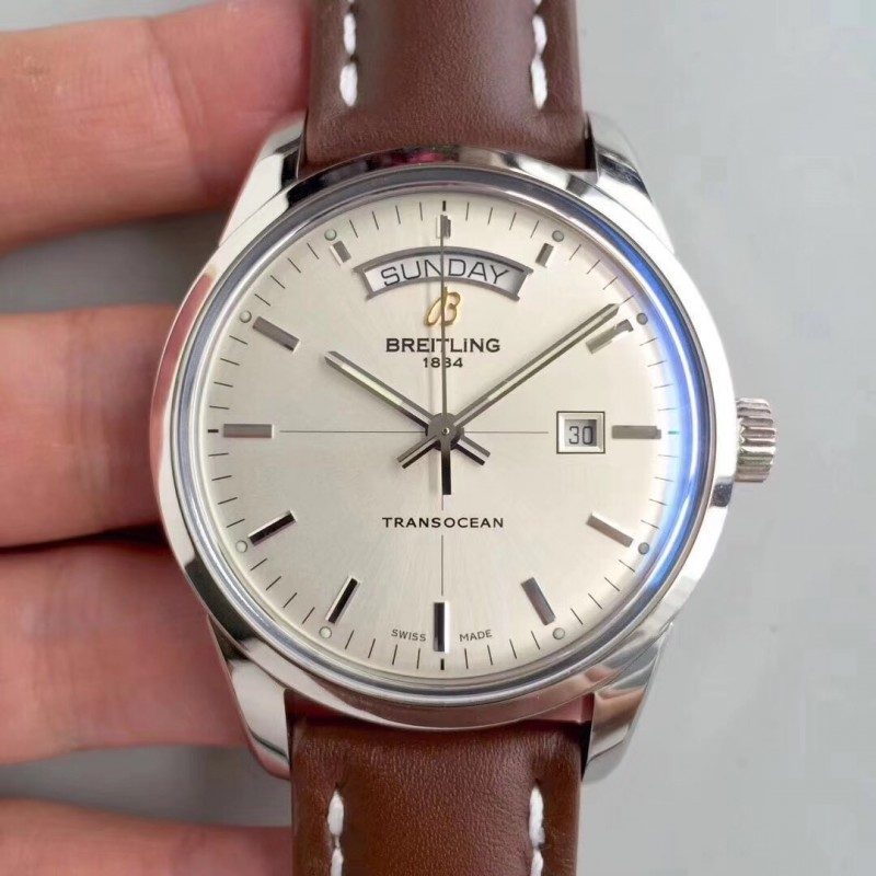 Replica Breitling Transocean Day & Date A4531012/G751/437X/A20BA.1 V7 Stainless Steel Silver Dial Swiis 2836-2 83841