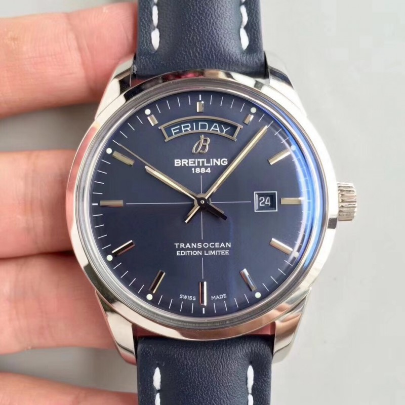 Replica Breitling Transocean Day & Date A453109T/C921/731P V7 Stainless Steel Blue Dial Swiis 2836-2 83840