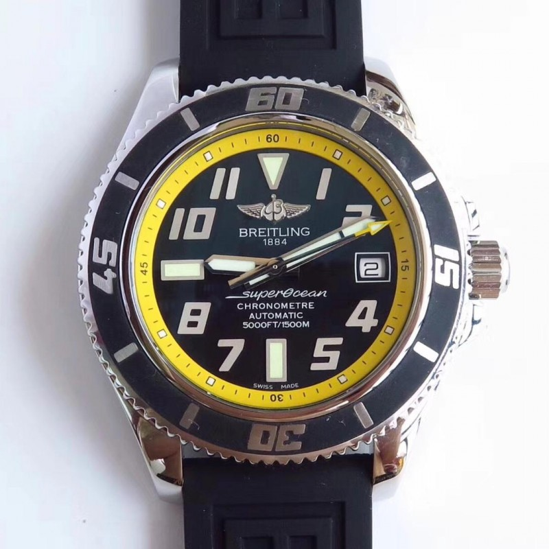 0184fb693 Replica Breitling Superocean 42 Abyss Yellow A1736402/BA32 ZF Stainless  Steel Black & Yellow Dial