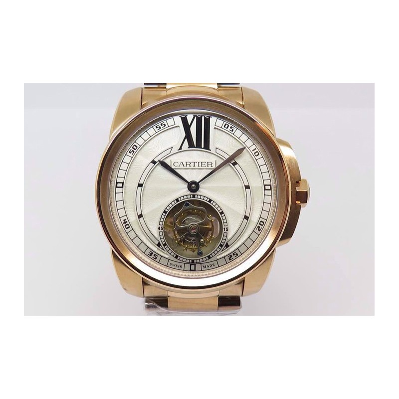 Replica Cartier Kaliber Tourbillon Roségold Weisses Zifferblatt Schweizer Tourbillon 83634