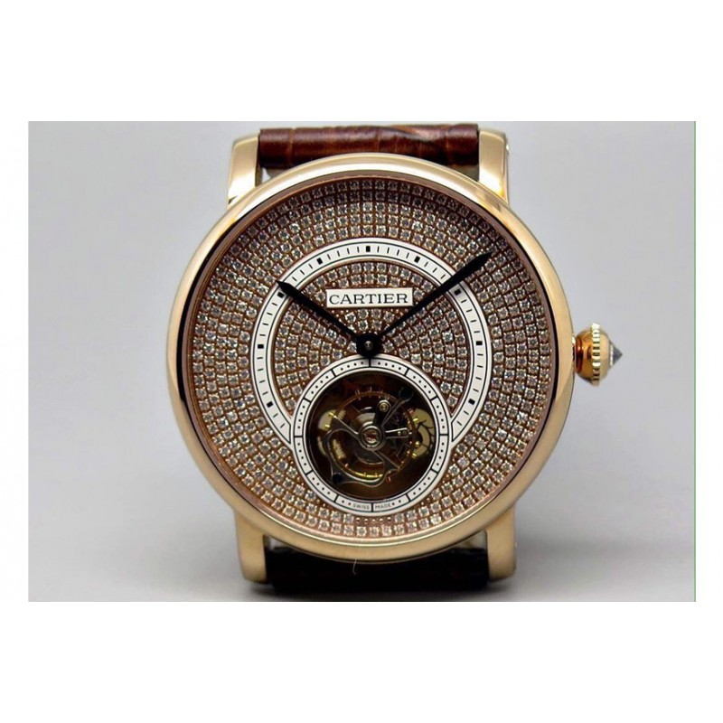 Replica Cartier Ronde Louis Tourbillon Roségold Diamanten Zifferblatt Schweizer Tourbillon 83601