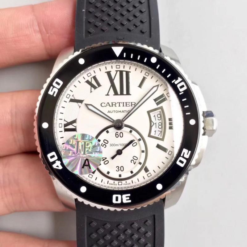2f72d2b7045 Replica Calibre De Cartier Diver 42MM JF Stainless Steel White Dial A23J  83650