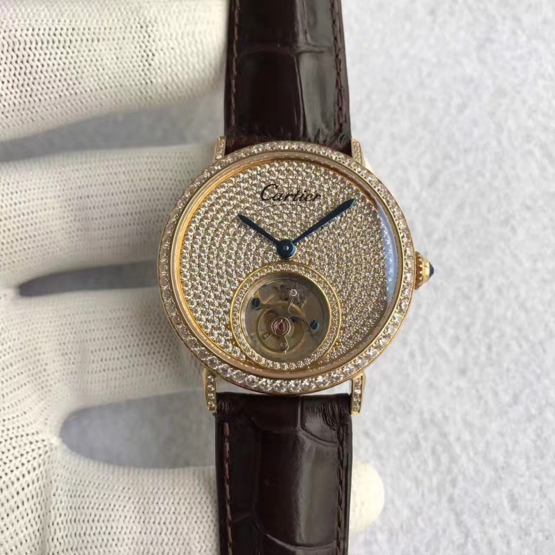 Replica Cartier Rotonde Tourbillon N Gelbgold Diamanten Diamant Zifferblatt Schweizer Tourbillon 83476