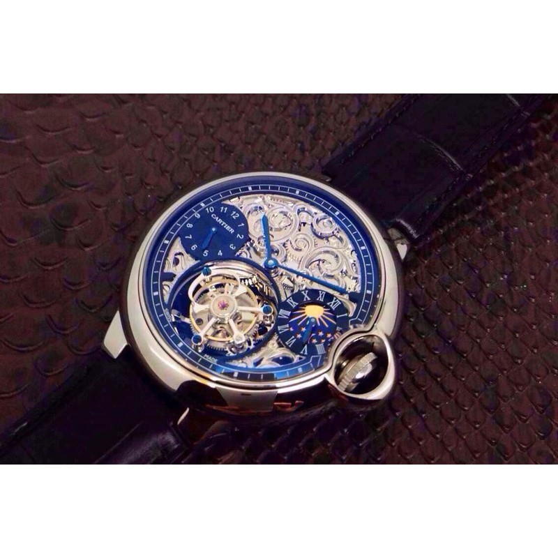 Replica Cartier Ballon Bleu Tourbillon Mondphase Edelstahl Skelett Schweizer Tourbillon 83474