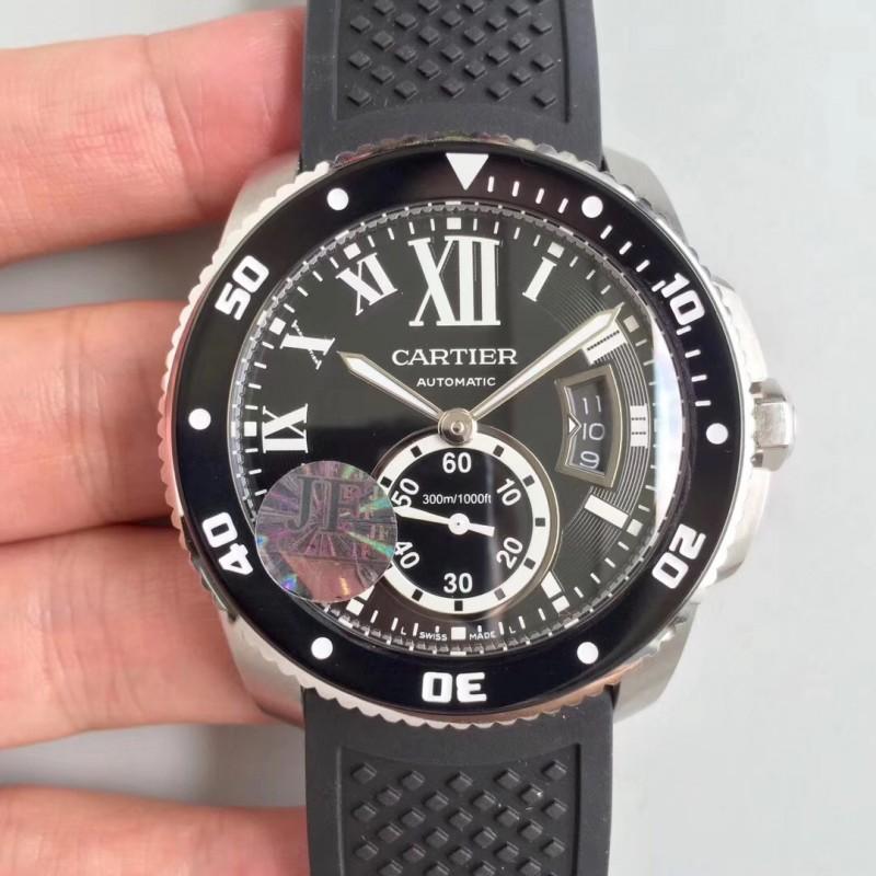 1c82ae701a5 Replica Calibre De Cartier Diver W7100056 42MM JF Stainless Steel Black  Dial A23J 83646