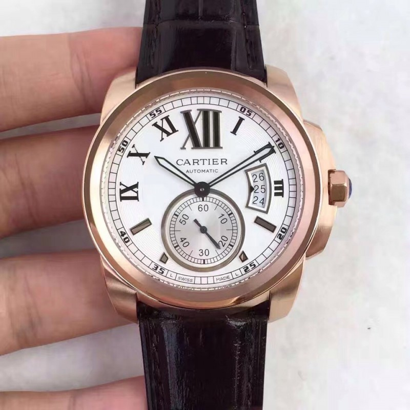 Replica Calié De Cartier W7100009 42Mm Tf Roségold Weisses Zifferblatt Swiss 1904Mc 83642