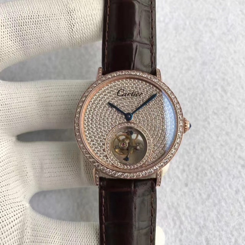 Replica Cartier Rotonde Tourbillon N Roségold Diamanten Diamant Zifferblatt Schweizer Tourbillon 83571