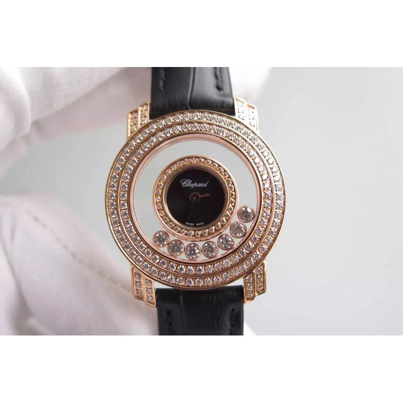 Replica Chopard Happy Diamonds Damen Roségold Schwarz Zifferblatt Schweizer Quarz 83451