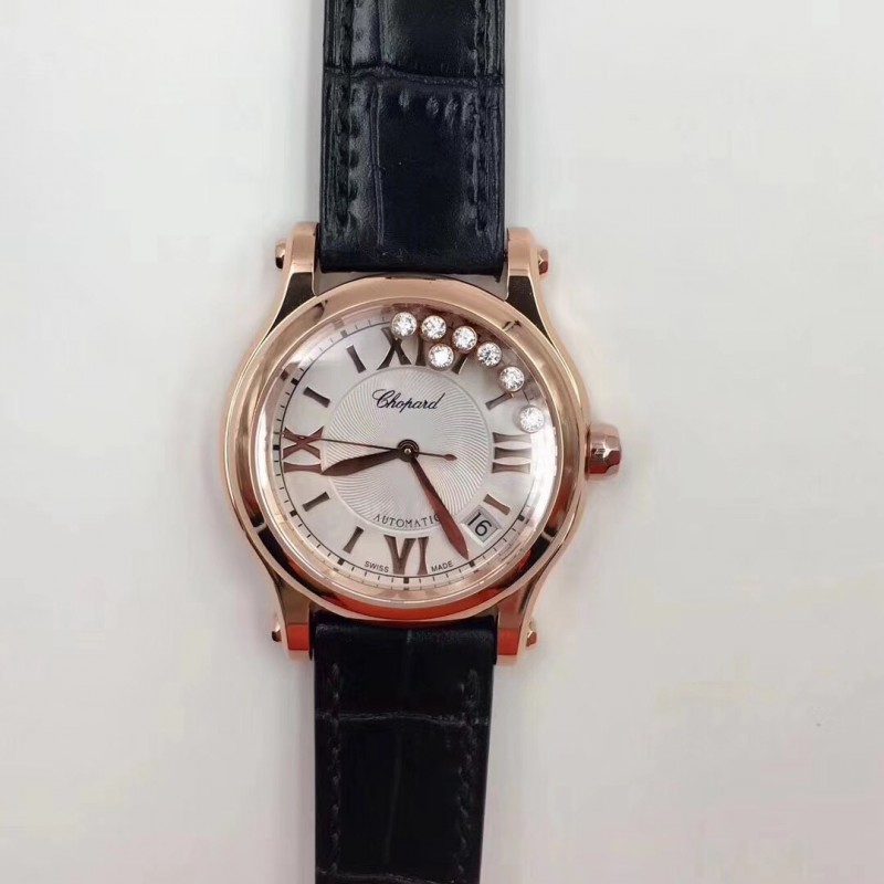 Replica Chopard Happy Sport 36Mm Automatisch 274808-5001 N Roségold Silber Diamantzifferblatt Swiss 2892 83443