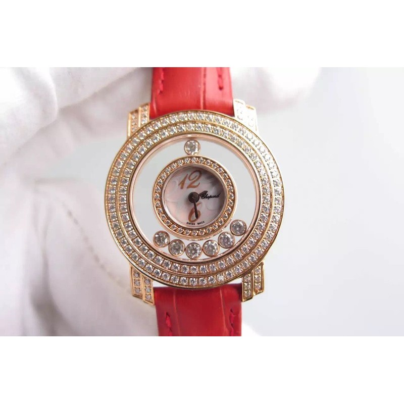 Replica Chopard Happy Diamonds Damen Roségold Pink / Weiß / Ziffern Zifferblatt Schweizer Quarz 83440