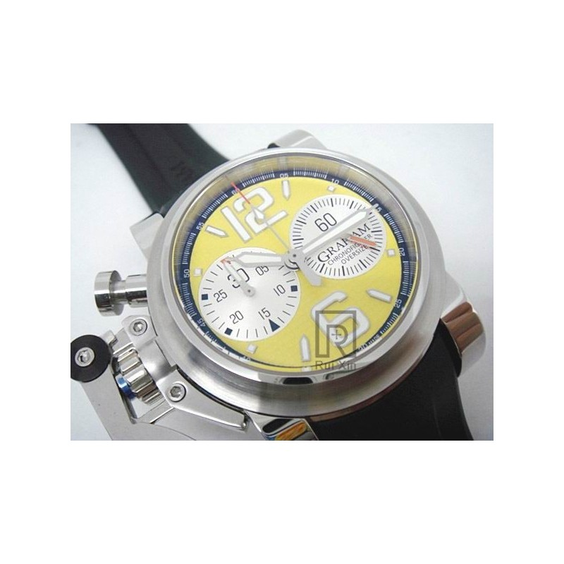 Replica Graham Chronofighter Oversize Edelstahl Gelb Zifferblatt Swiss 7750 83244