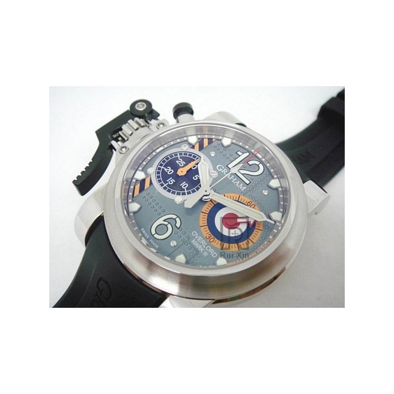 b5af09b2331 Replica Graham Chronofighter Oversize Stainless Steel Blue Dial Swiss 7750  83239