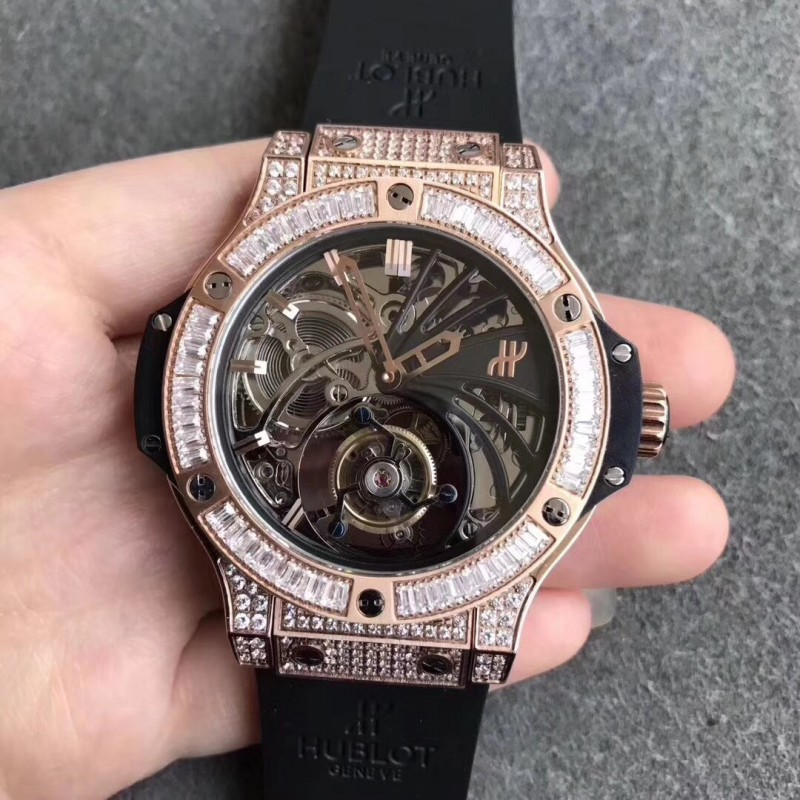 Replica Hublot Big Bang Tourbillon N Roségold Diamant Skeleton Zifferblatt Schweizer Tourbillon 83089