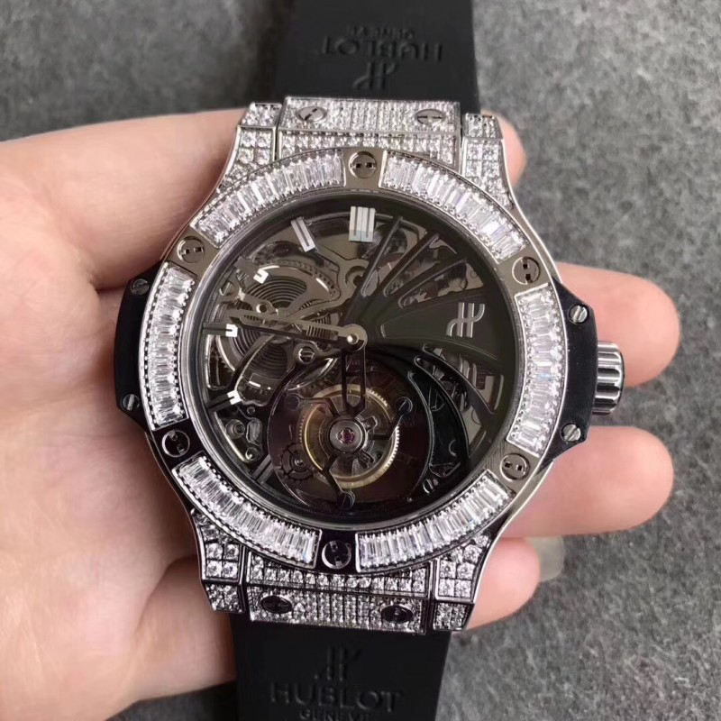 Replica Hublot Big Bang Tourbillon N Edelstahl Diamant Skelettzifferblatt Schweizer Tourbillon 83084