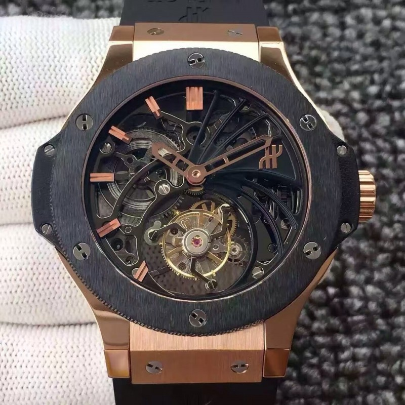 Replica Hublot Big Bang Skelett Tourbillon Rose Gold Keramik Skelett Zifferblatt Schweizer Tourbillon 83079