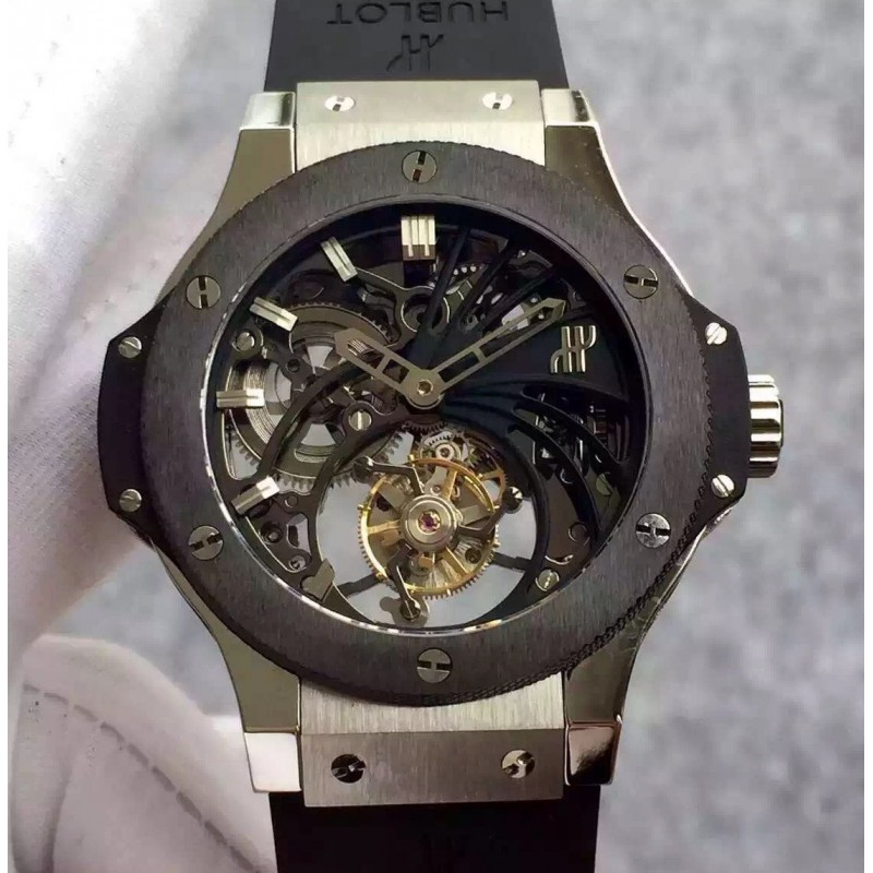 Replica Hublot Big Bang Skelett Tourbillon Edelstahl Keramik Skelett Zifferblatt Schweizer Tourbillon 83078