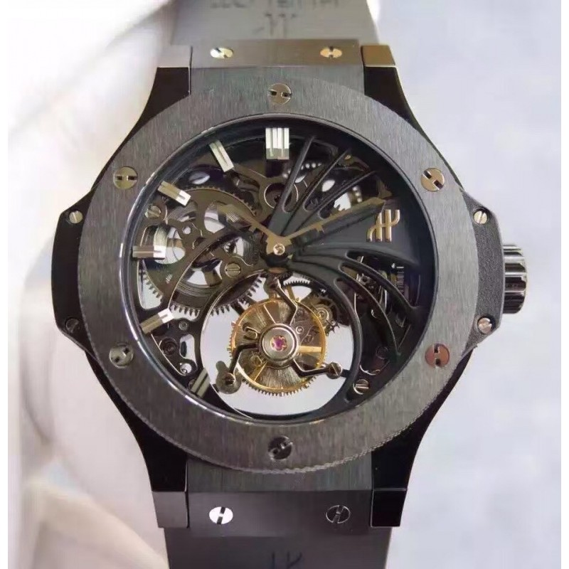 Replica Hublot Big Bang Skelett Tourbillon Keramik Skelett Zifferblatt Schweizer Tourbillon 83077