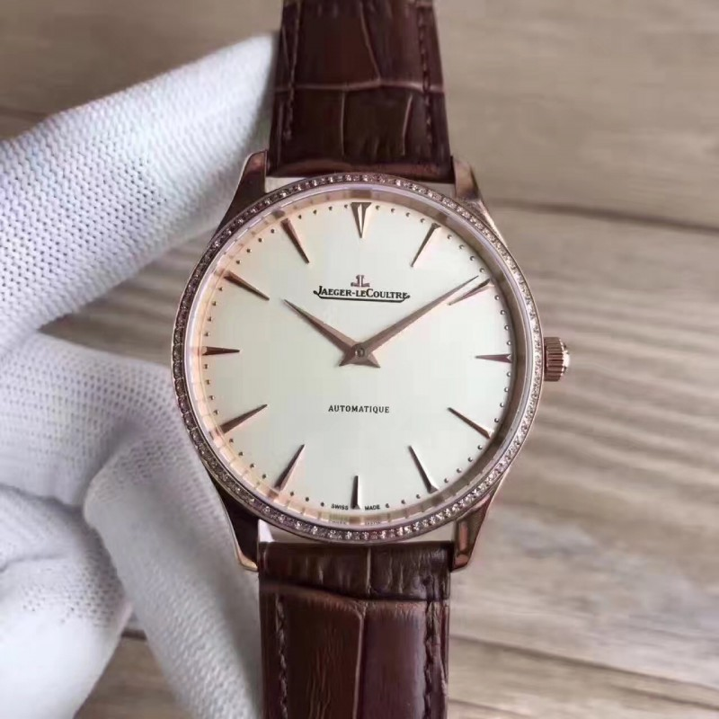 Replica Jaeger-LeCoultre Master Ultra Thin 41 1332511 N Rose Gold & Diamonds Silver Dial M9015 82568