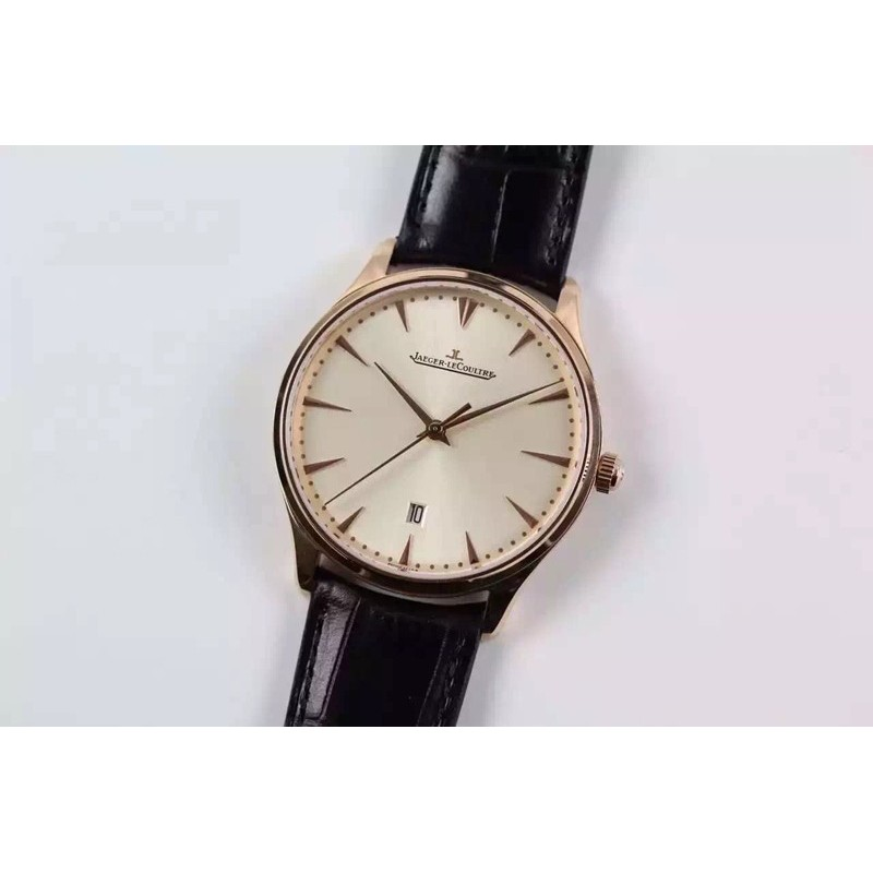 Replica Jaeger-LeCoultre Master Ultra Thin Date Rose Gold White Dial Swiss JLC 899 82548