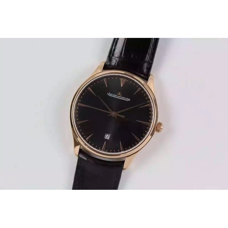 Replica Jaeger-LeCoultre Master Ultra Thin Date Rose Gold Black Dial Swiss JLC 899 82512